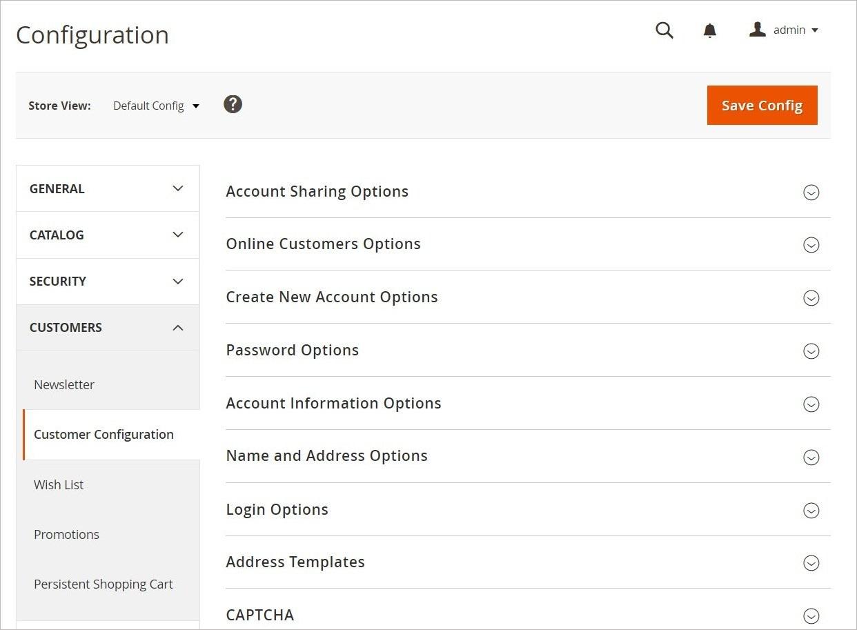 مرجع إعدادات تكوين العملاء (Customers Configuration) على ماجنتو 2
