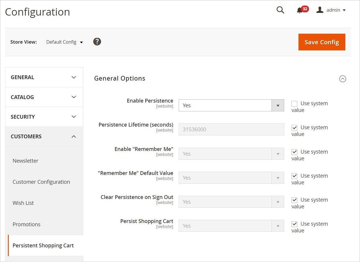 إعدادات تكوين السلة الدائمة ( Persistent Shopping Cart Configuration) فى ماجنتو 2