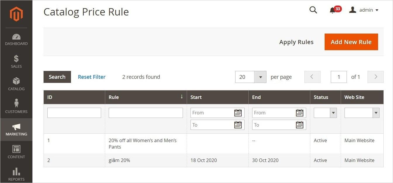 قواعد أسعار كتالوج المتجر (Catalog Price Rules) فى ماجنتو 2