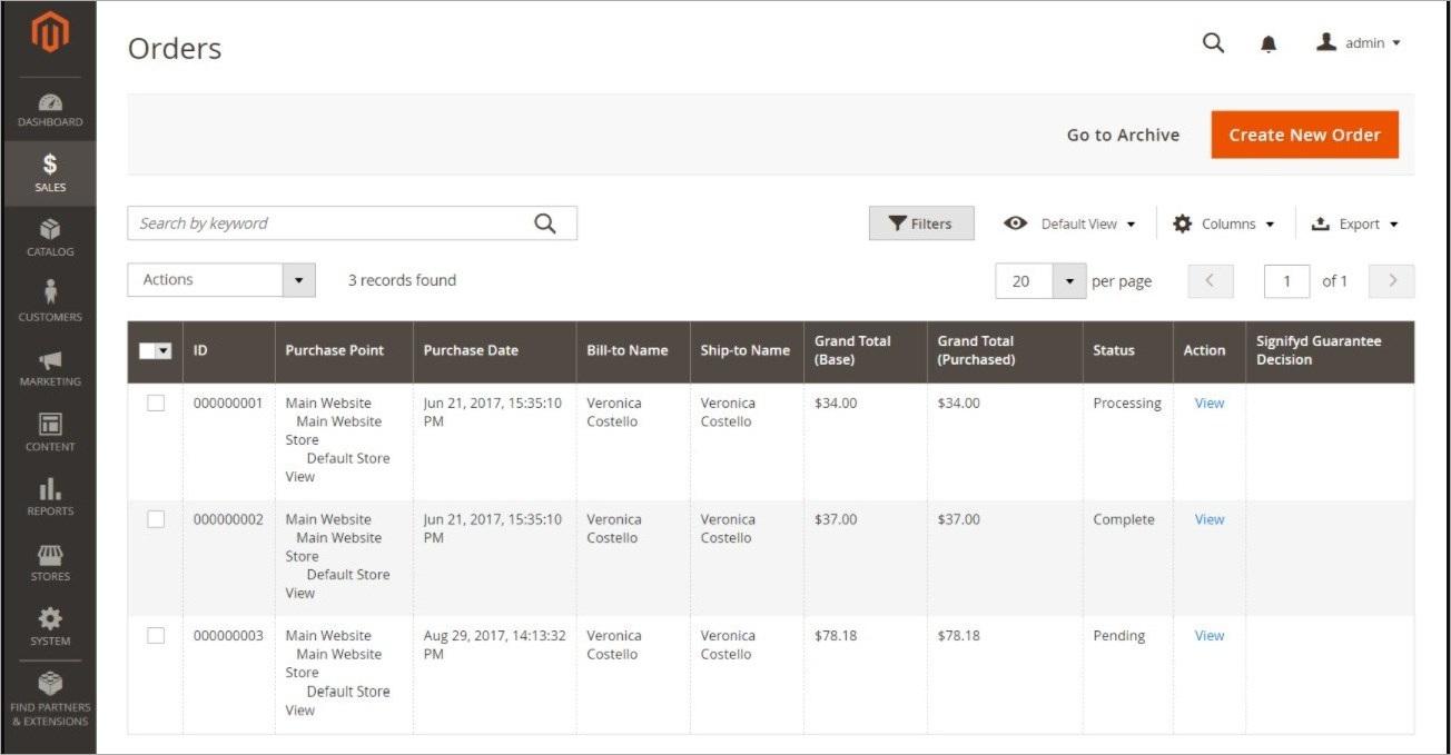 مساحة عمل طلب الشراء (Order Workspace) داخل لوحة تحكم ماجنتو 2