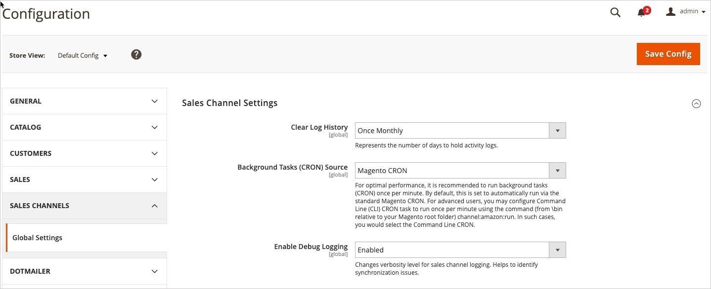إعدادات تكوين قنوات البيع (Sales Channels) فى ماجنتو 2
