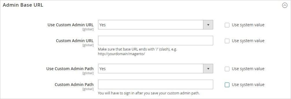 إعدادات تكوين لوحة التحكم (Admin Configuration) فى ماجنتو 2