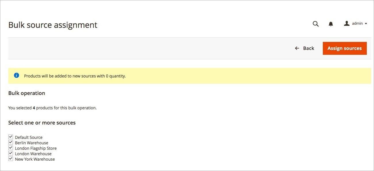تعيين مصادر المخزون للمنتجات (Assigning Sources) فى ماجنتو 2